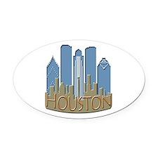 Houston Skyline NewWave Beachy Oval Car Magnet