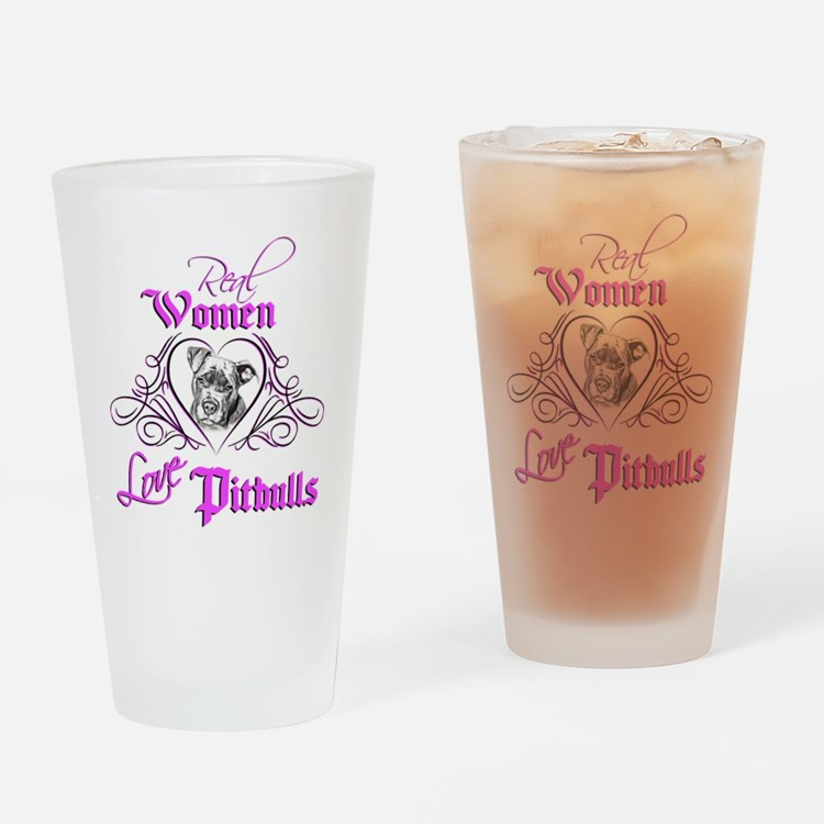 Real Women Love Pitbulls Drinking Glass