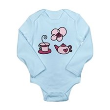 Pink Tea Time Long Sleeve Infant Bodysuit