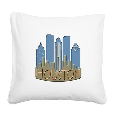 Houston Skyline NewWave Beachy Square Canvas Pillo