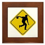 Bowling Crossing Sign Framed Tile