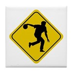 Bowling Crossing Sign Tile Coaster