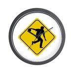 Bowling Crossing Sign Wall Clock