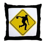 Bowling Crossing Sign Throw Pillow