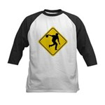 Bowling Crossing Sign Kids Baseball Jersey