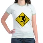Bowling Crossing Sign Jr. Ringer T-Shirt