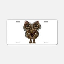 Large Steampunk Owl Aluminum License Plate
