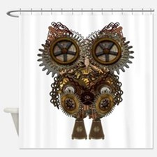 Large Steampunk Owl Shower Curtain