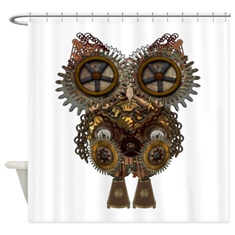 Perfect Steampunk Owl Shower Curtains Steampunk Owl Fabric Shower