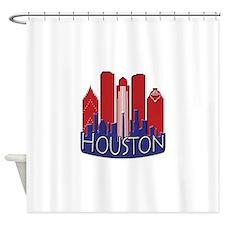 Houston Skyline NewWave Patriot Shower Curtain