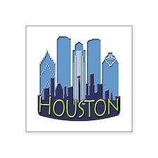 "Houston Skyline NewWave Cool Square Sticker 3"" x 3"