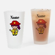 Personalized Girl Firefighter Drinking Glass