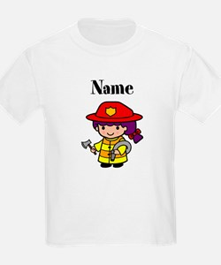Personalized Girl Firefighter Kids T-Shirt
