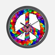 Psychedelic Peace Sign Wall Clock