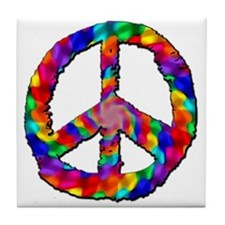 Psychedelic Peace Sign Tile Coaster