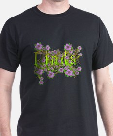 Linda Floral Lavender Flowers yellow Gold T-Shirt