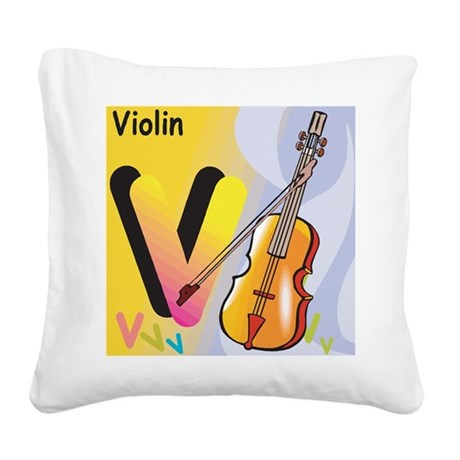 V for Violin Square Canvas Pillow