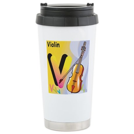 V for Violin Stainless Steel Travel Mug
