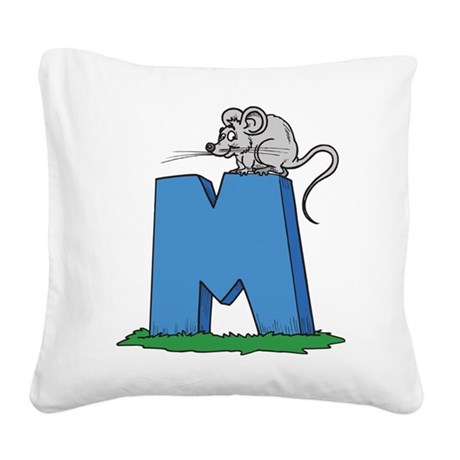 M For Mouse Square Canvas Pillow