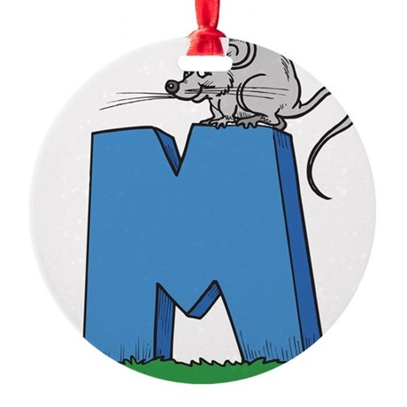 M For Mouse Round Ornament