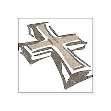 "Vintage Cross Square Sticker 3"" x 3"""