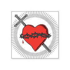"Sacred Heart Square Sticker 3"" x 3"""