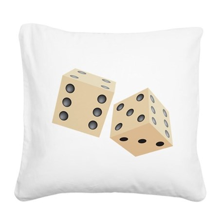 Classic Dice Square Canvas Pillow