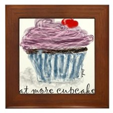 eat more cupcakes Framed Tile