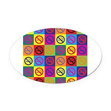 Pop Art No Smoking Oval Car Magnet