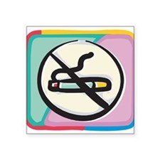 "Cool No Smoking Square Sticker 3"" x 3"""