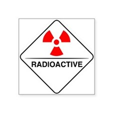 "Warning Radioactive Square Sticker 3"" x 3"""
