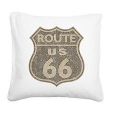 Vintage Route66 Square Canvas Pillow