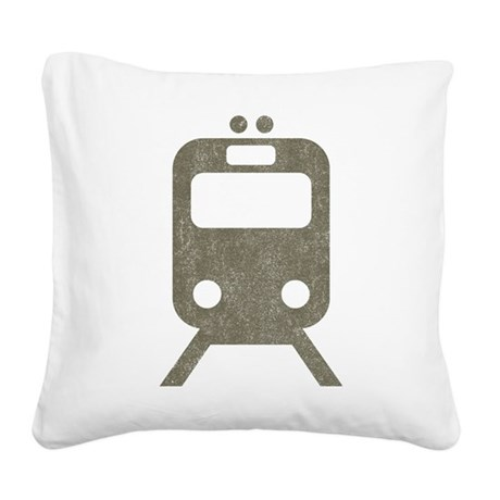 Vintage Subway Square Canvas Pillow