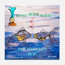 Fish Make Love Tile Coaster