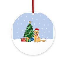 Golden Retriever Christmas Round Ornament