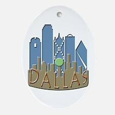 Dallas Skyline NewWave Beachy Ornament (Oval)