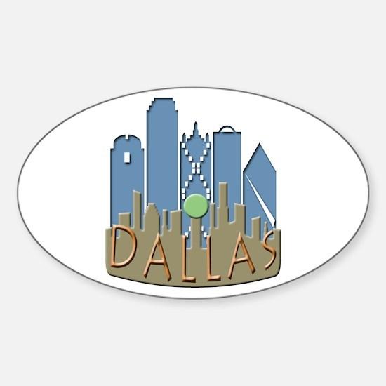 Dallas Skyline NewWave Beachy Sticker (Oval)