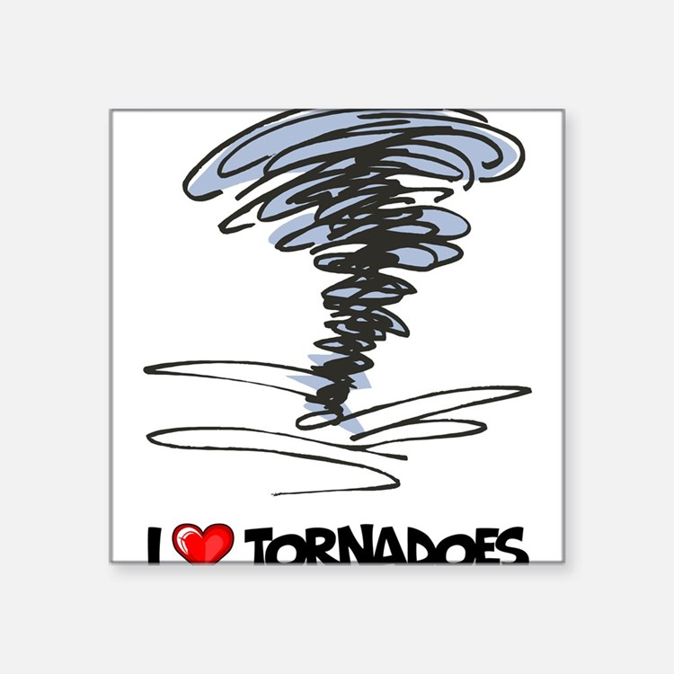 "I Love Tornado Square Sticker 3"" x 3"""