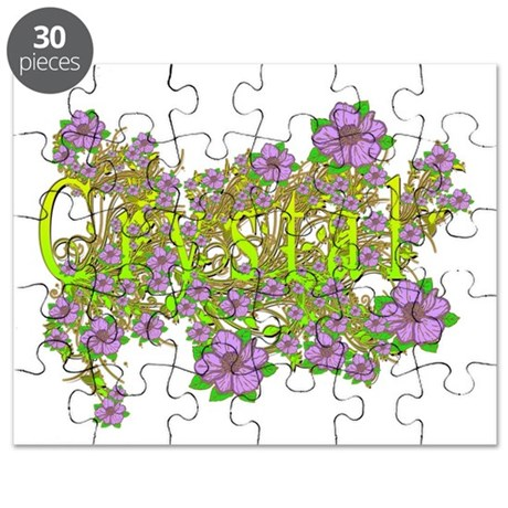 Crystal Floral Lavender Flowers yellow Gold Puzzle