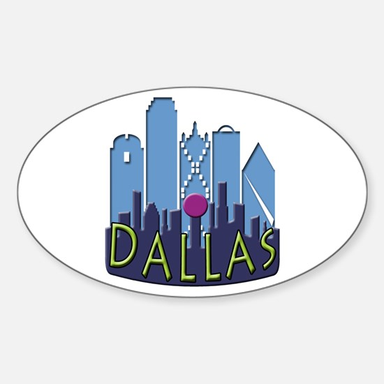 Dallas Skyline NewWave Cool Sticker (Oval)