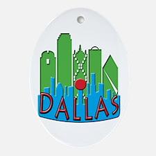 Dallas Skyline NewWave Primary Ornament (Oval)