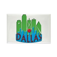Dallas Skyline NewWave Primary Rectangle Magnet