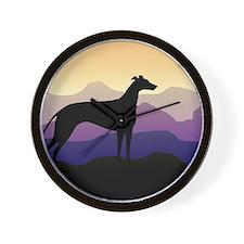 greyhound dog purple mountains Wall Clock