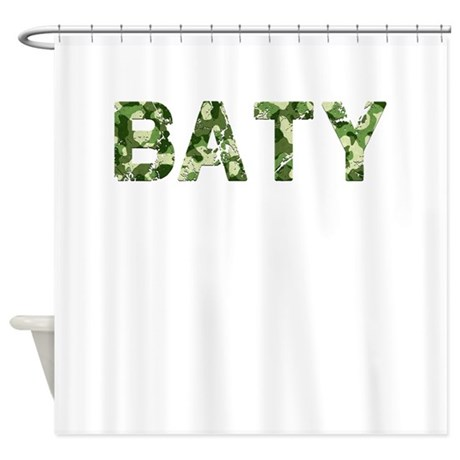 Baty Vintage Camo Shower Curtain By Thecafemarket