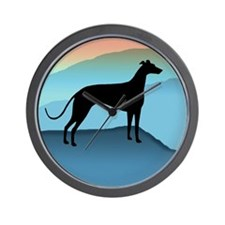 greyhound blue mt. Wall Clock