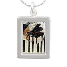 Grand Piano Silver Portrait Necklace