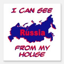 """I Can See Russia.png Square Car Magnet 3"""" x 3"""""""