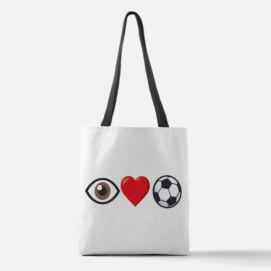 I Heart Soccer Emoji Polyester Tote Bag