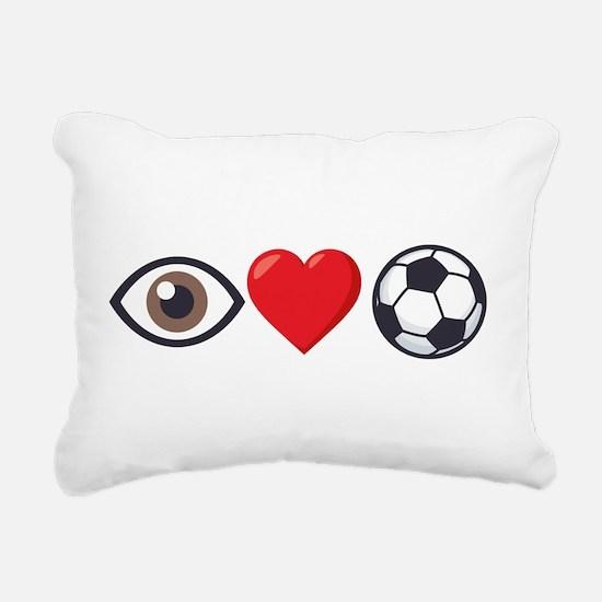 I Heart Soccer Emoji Rectangular Canvas Pillow