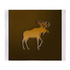 WoodenMooseonBrownSquare.png Throw Blanket